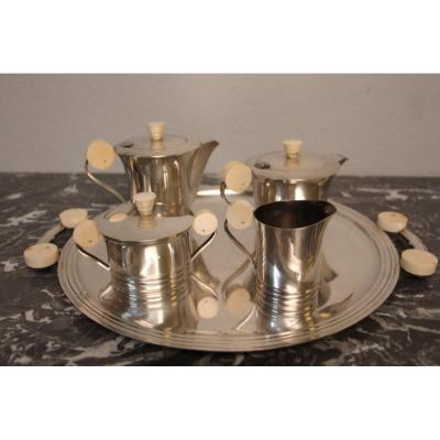 Tea And Coffee Service In Sterling Silver, Art Deco Period