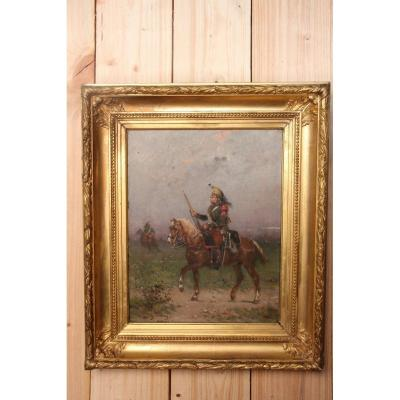 "Oil On Canvas By Gustave Oudry ""the Dragon On Horseback"""