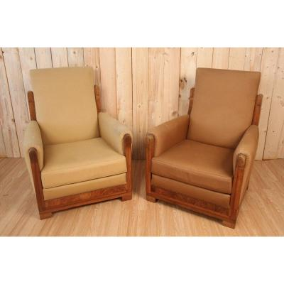 Pair Of Art Deco Armchairs Attributed To Gauthier Poinsignon