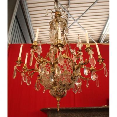 Grand Lustre En Bronze Et Cristal 19eme A 10 Lumières 140 Cm De Hauteur