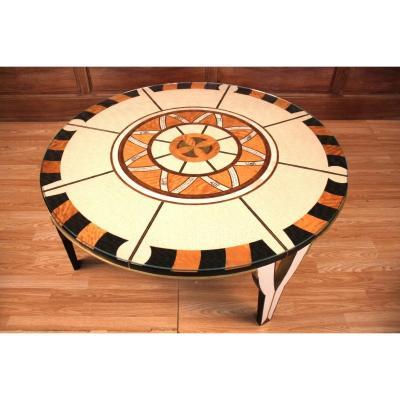 Table Basse Circulaire Dans Le Style De Carlo Bugatti