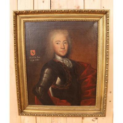 Grand Portrait Début XVIIIeme De Daniel De Pont Wlyamoz , Capitaine Au Service De L'Espagne