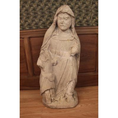 Grande Statue De Sainte Anne En Pierre Calcaire XVeme