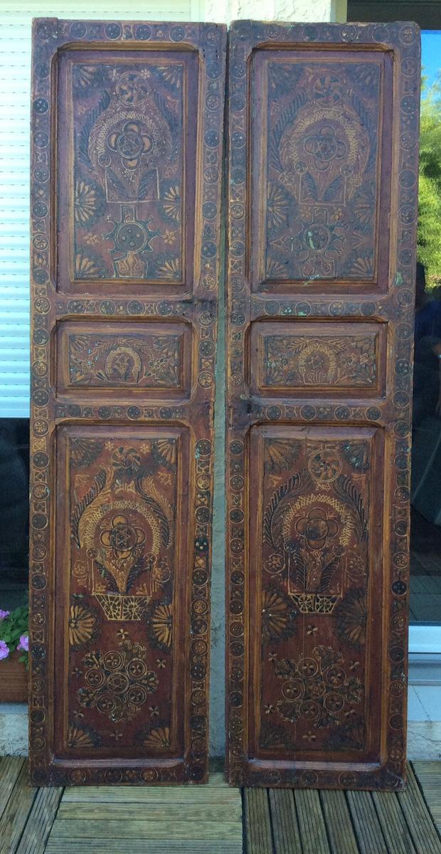Paire De Portes Peintes Marocaines