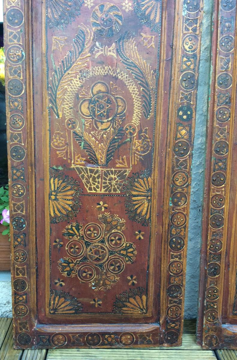 Paire De Portes Peintes Marocaines-photo-2