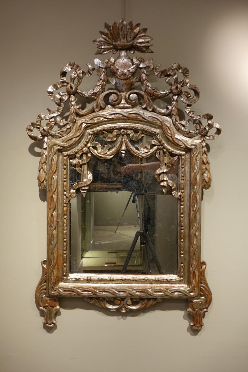 Miroir Louis XVI à Feuille d'Argent