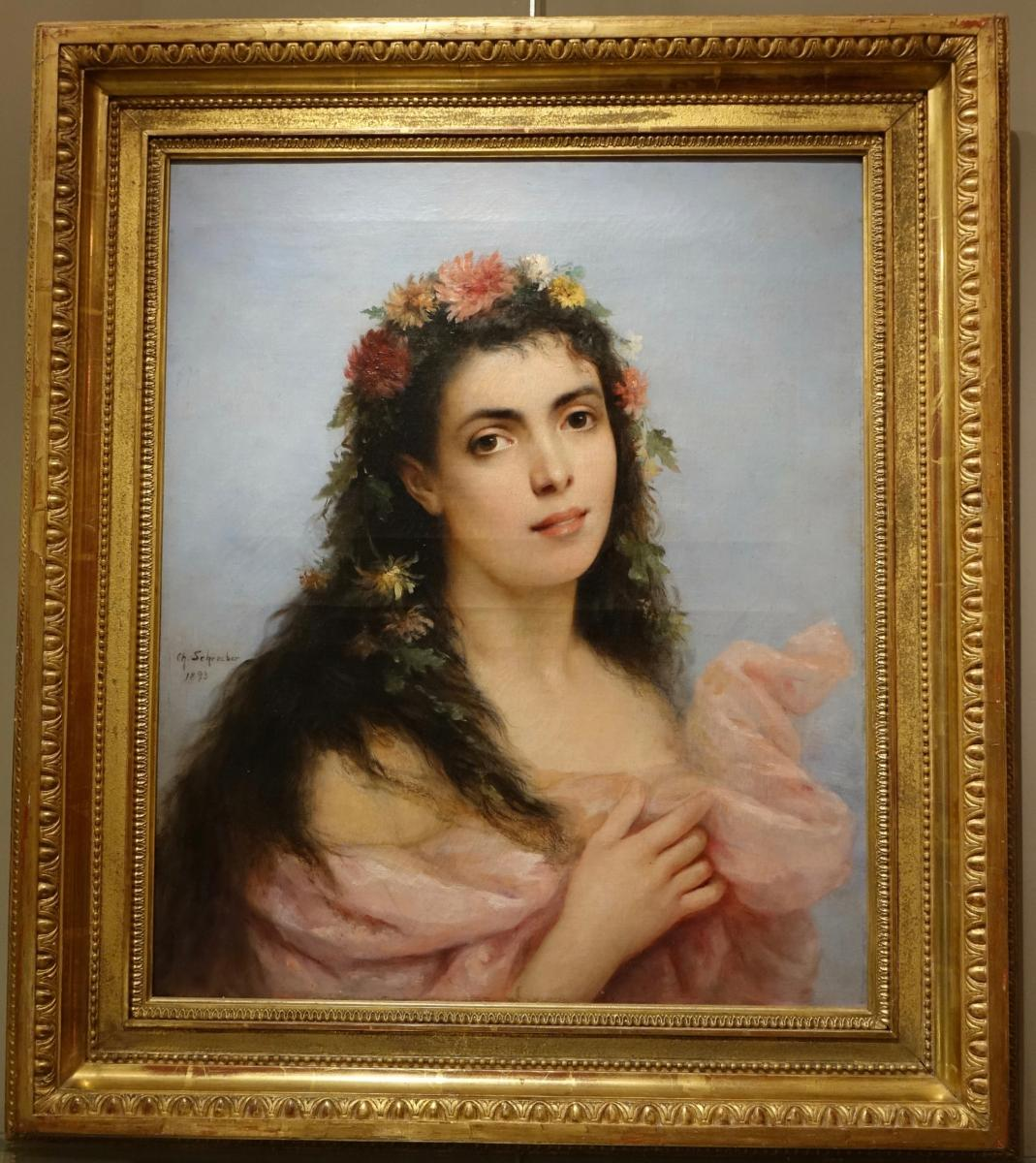 Young Woman With Chrysanthemums, Painting Signed Schreiber, 1893