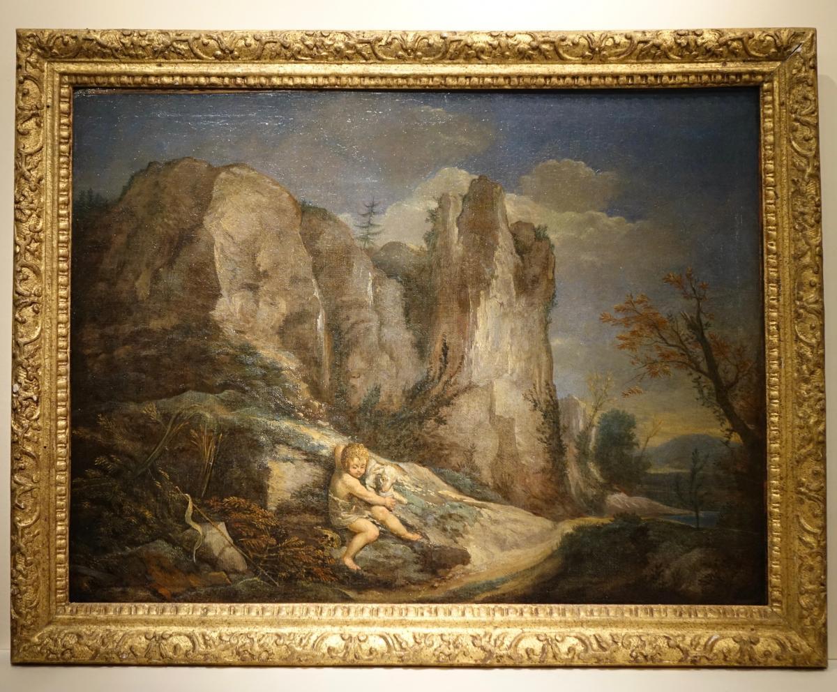 Tableau Représentant Saint Jean Baptiste Enfant Et l'Agneau,fin 17e S.