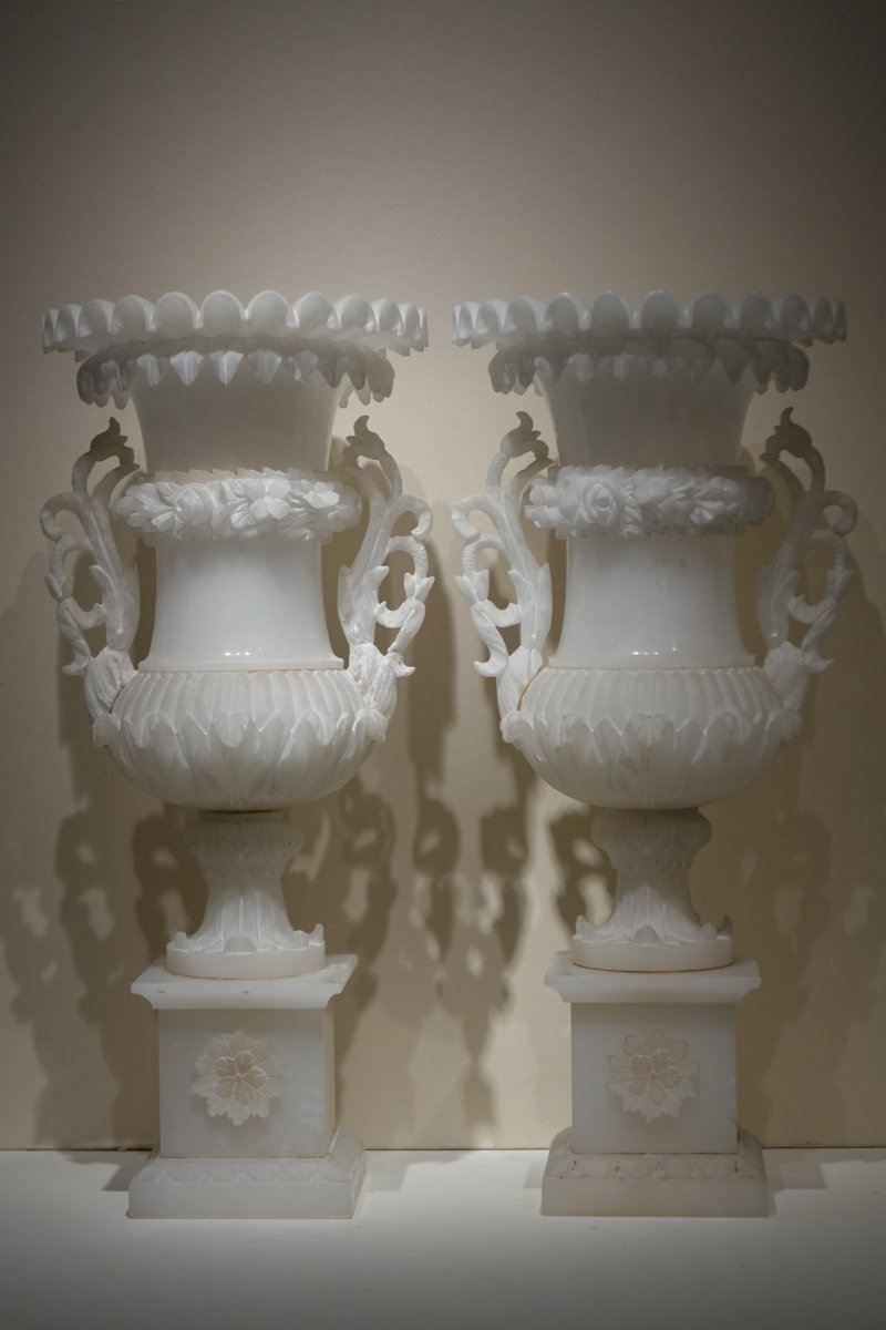 Pair Of Alabaster Vases, France, 19th C.