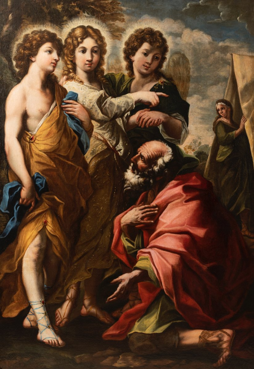 La visite des trois Anges à Abraham - Attribuée à Giacinto BRANDI, vers 1650