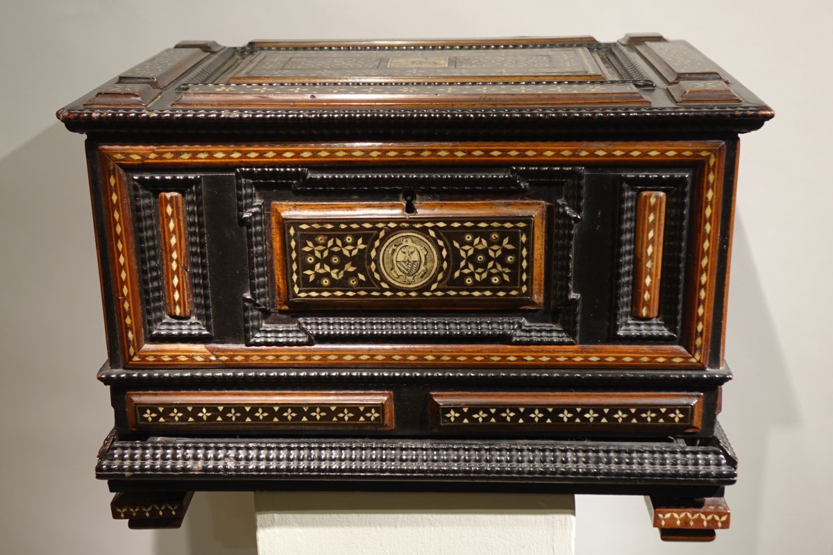 Small Chest In Fruit Wood And Blackened Wood, Decorated