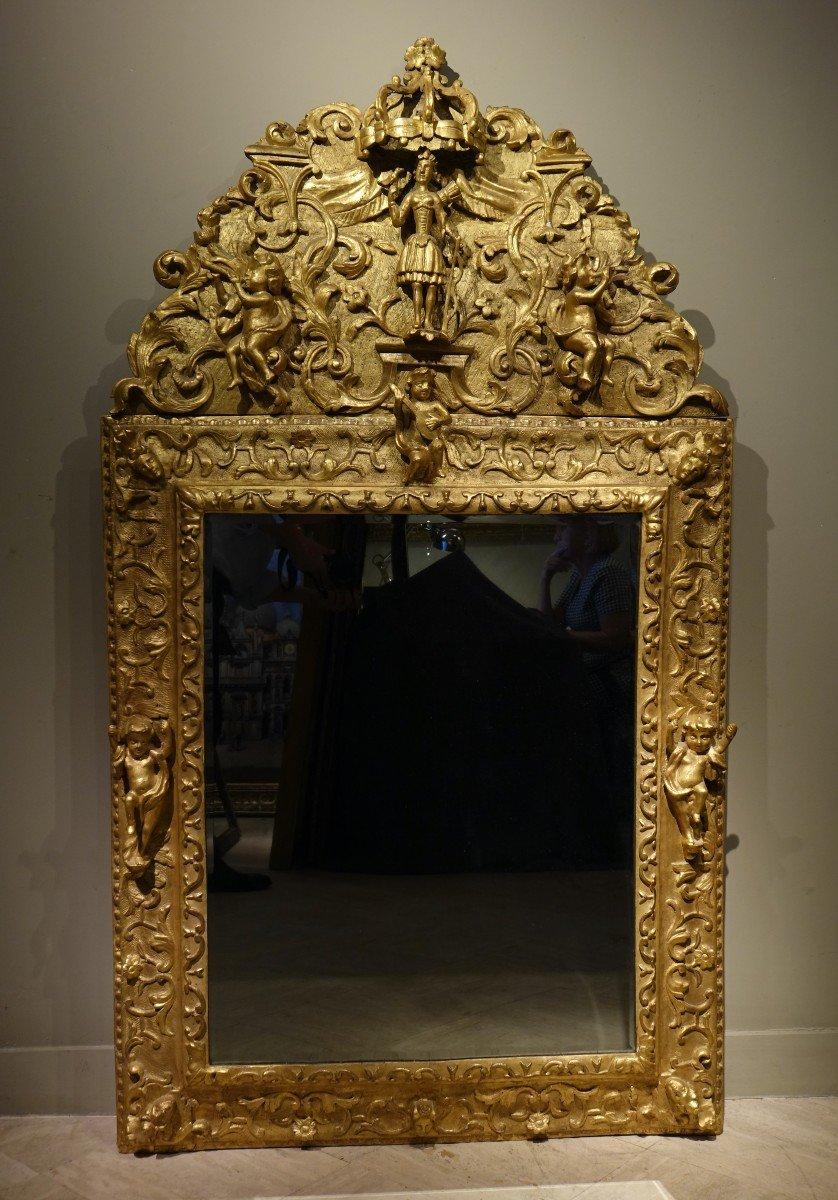 Grand Miroir à Fronton En Bois Doré , Italie,18e S.
