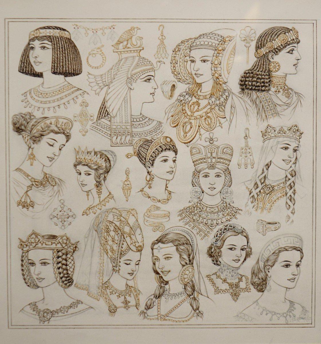 Portraits De 14 Reines Ou Impératrices, Encre Brune Et Sépia,signé Herouard, Vers 1925.-photo-2
