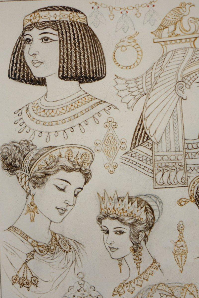 Portraits De 14 Reines Ou Impératrices, Encre Brune Et Sépia,signé Herouard, Vers 1925.-photo-3