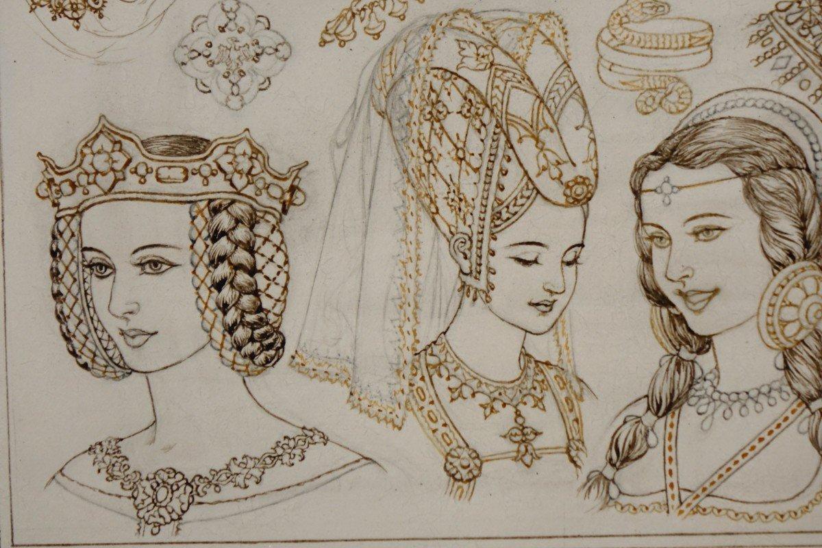 Portraits De 14 Reines Ou Impératrices, Encre Brune Et Sépia,signé Herouard, Vers 1925.-photo-4