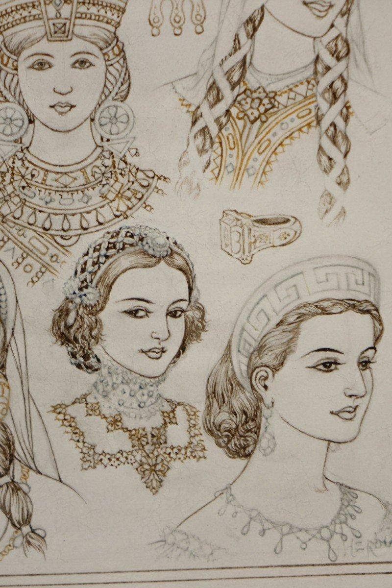 Portraits De 14 Reines Ou Impératrices, Encre Brune Et Sépia,signé Herouard, Vers 1925.-photo-1