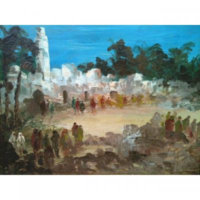 Scene de marche, Afrique du Nord Signée Lucien Perona(1906_1971)