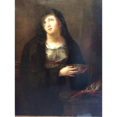 Portrait d'Une Vestale Ranimant Le Feu Sacré ,début 18e S.