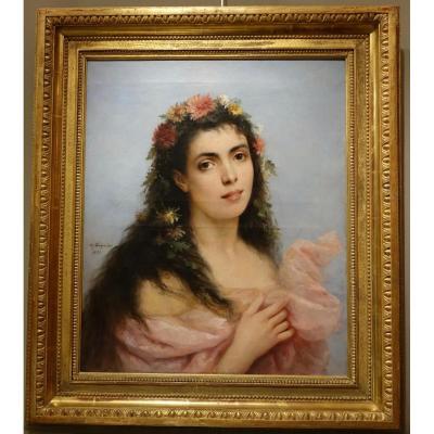 Jeune Femme Aux Chrysanthèmes ;tableau Signé SCHREIBER,1893