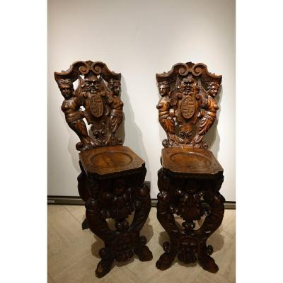 Pair Of Ladders In Walnut, Italy, Circa 1880