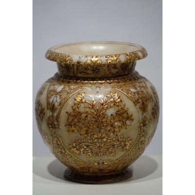 Petit Vase Moghol En Albâtre, Fin 19e S.