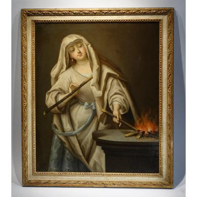 Vestal Reviving The Sacred Fire, French School From The 18th C.