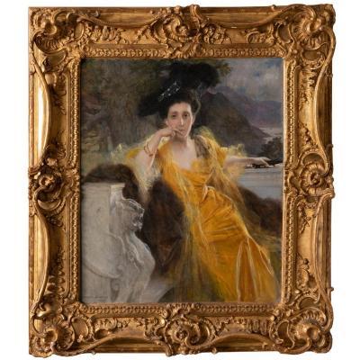 Portrait De Mme Fould,huile Sur Toile, F.flameng,1903