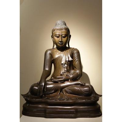 Bouddha Assis En Bhumisparsa Mùdra, Bronze, Birmanie, 19e S.