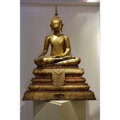 Grand Bouddha Rattanakosin Avec Son Socle, Bronze,19e S.