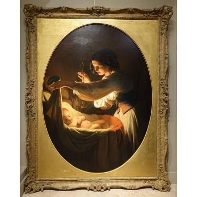 """young woman covering her sleeping child in the cradle, a candlestick in her hand"" French romantic school, or Italian, around 1830. Very particular atmosphere in chiaroscuro, perfectly mastered. The canvas is painted in an oval on a square frame. Louis XV style frame in carved wood. 153x119 with frame"