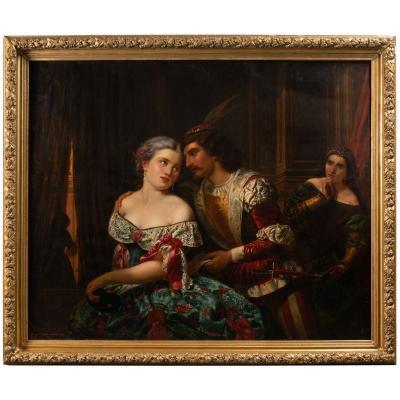 """""""Une scène galante durant le carnaval de Venise"""", G.Guffens? 1878"""
