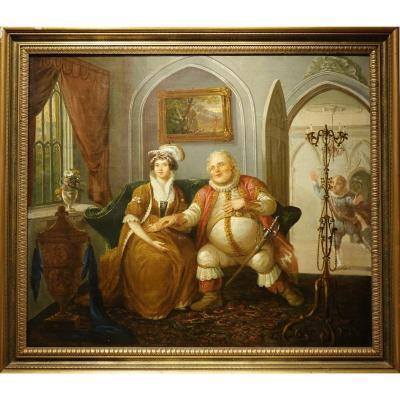 Scène De Genre ,huile Sur Toile, école Anglaise ,19e S.