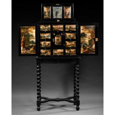 Antwerp Cabinet With Painted Decorations, Flanders, 17th C.
