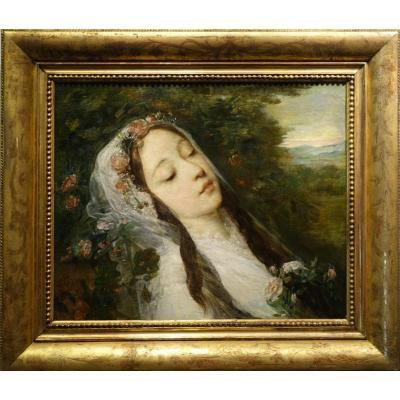 """""""Ophélie"""", huile sur toile , G.RICARD (1823-1873)"""