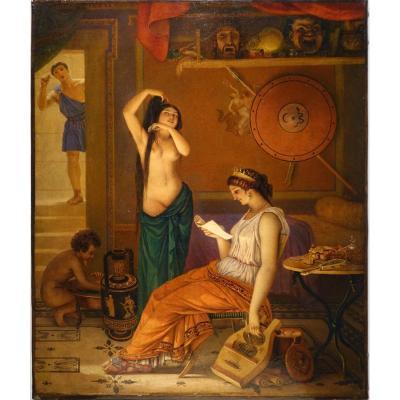 """""""Acteurs dans les coulisses d'un théatre sous la Grèce antique"""", Lecomte du Nouÿ? 19e s."""