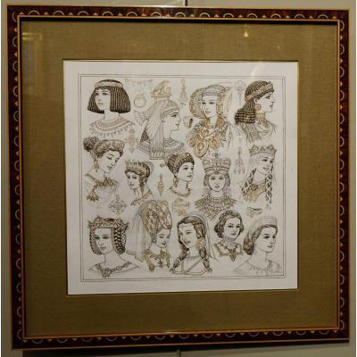 Portraits De 14 Reines Ou Impératrices, Encre Brune Et Sépia,signé Herouard, Vers 1925.