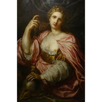 """""""Athéna"""", huile sur toile, Italie ,début du 17e s."""
