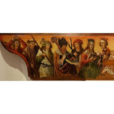 Prédelle(?) Avec Une Nativité Et 15 Saints Et Saintes, Allemagne Ou Tyrol, Vers 1520