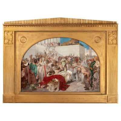 """""""Marc-Antoine devant le corps de César"""", huile sur toile signée R.Seuffert,1906"""