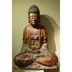 Grand Bouddha En Bois Laqué,chine, Début 19e S.