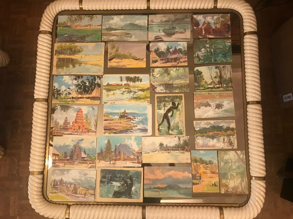Suite Of 31 Gouaches By The Traveling Painter Guy Huze (1912-1997) Different Regions Of The Globe.