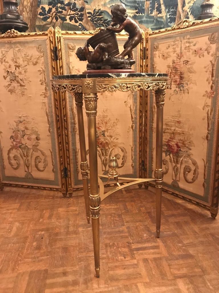 Louis XVI Style Gilt Bronze Pedestal Table. Beginning Of The XXth Century