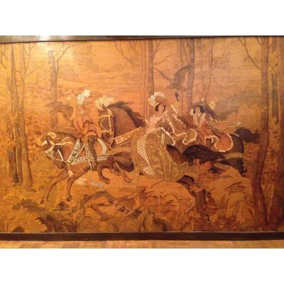 """Great Pair Of Panels On Wood Engravings """"hunting Scenes"""" XX"""