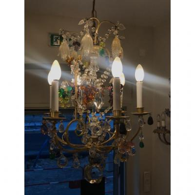 Chandelier Cage Bronze And Crystal 6 Lights. XXth Louis XV Style
