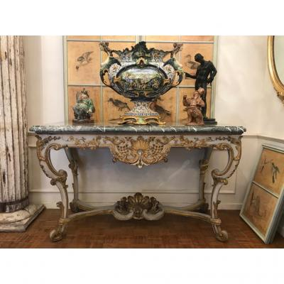 Regence Console Spacer In Carved And Rechamped Oak. Marble Top Period XIXth Century