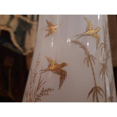 Pair Of White Opaline Vases With Bird Decor And Gilded Branch With Gold. XIXth
