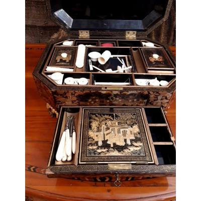 China Lacquered Sewing Box With Decor Of Characters And Pagodas. Interior Trimmed With Ivory Objects