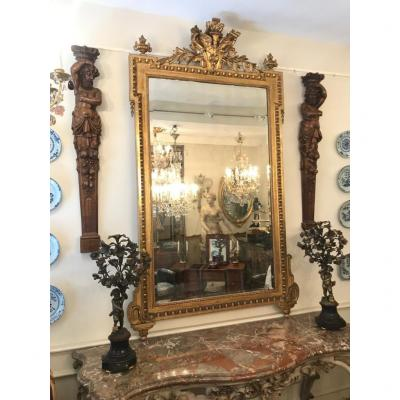 Large Louis XVI Mirror In Stuck And Golden Wood With Victory Wings. Napoleon III. XIXth.