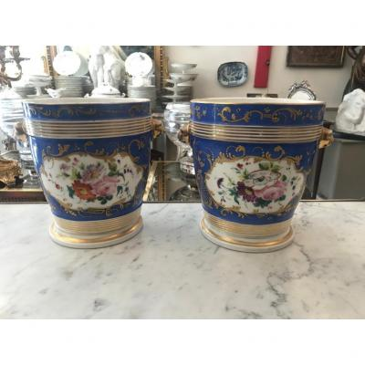 Pair Of Cache Porcelain Pots From Paris XIXth Century