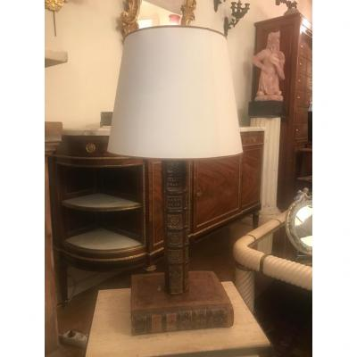 Original Librarian Lamp. Period 1900 And Leather.